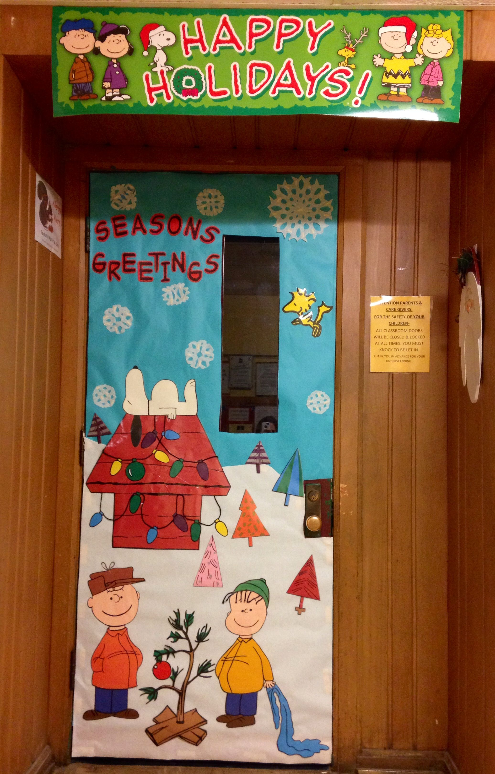 Charlie Brown Christmas Themed Door front door decorations - Halloween Office Door Decorating Contest Ideas