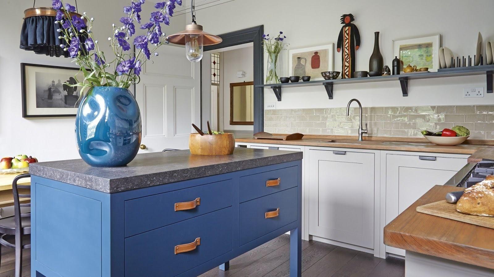 Cozinha Azul 70 Inspiracoes De Decoracao Com A Cor Freestanding Kitchen Country Kitchen Painted Kitchen Island