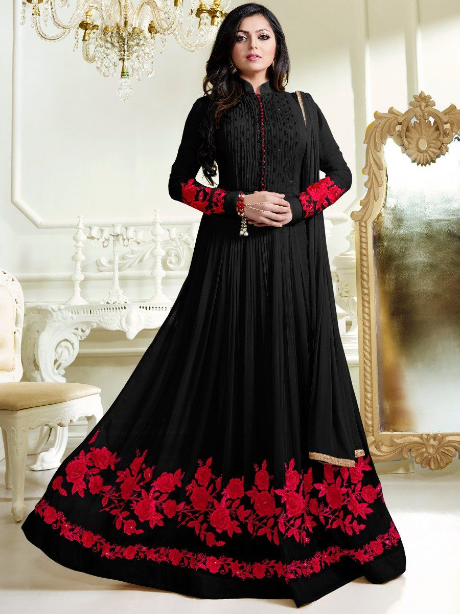 ee0cce8ac4 Shop Drashti Dhami black color georgette anarkali kameez online at  kollybollyethnics from India with free worldwide shipping.