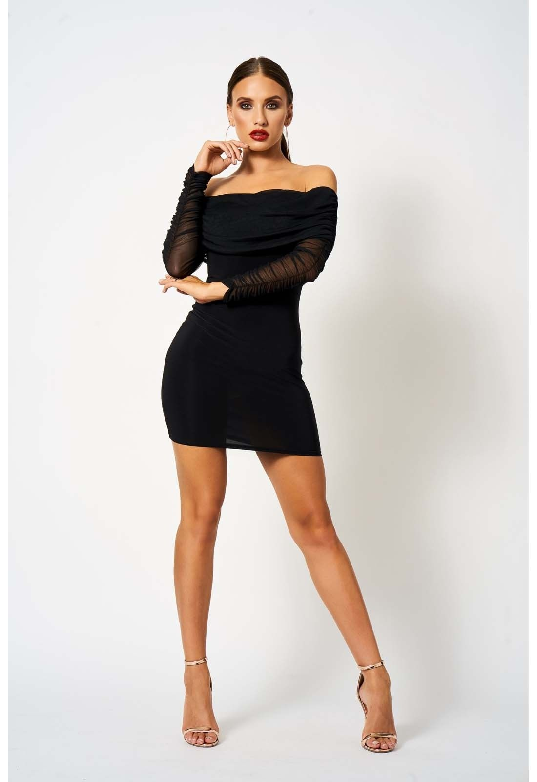 8a7b8c6935 Make it a night to remember in Club L London s stunning Ruched Bardot Black  Bodycon Mini