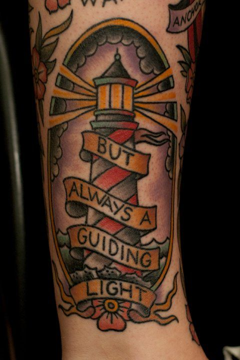 Tattoo Old School Traditional Nautic Ink Lighthouse Tattoos