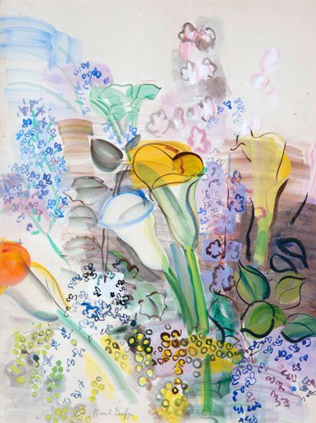 bouquet d 39 arums et fleurs des champs watercolor raoul. Black Bedroom Furniture Sets. Home Design Ideas