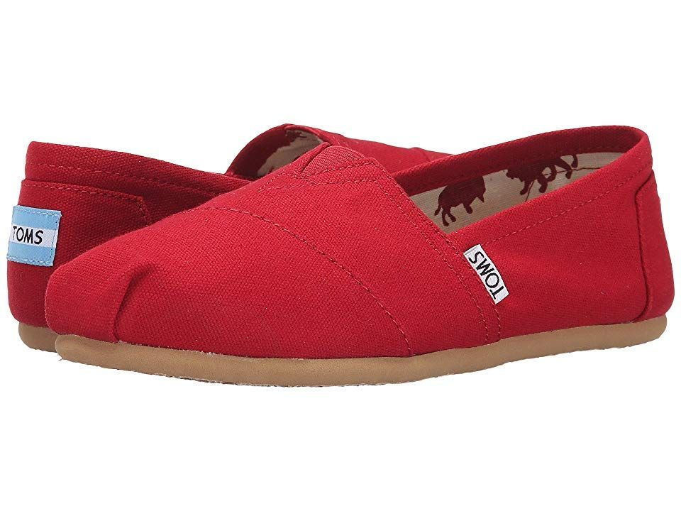 TOMS Classics TOMS Classics Red Canvas Womens Slip on Shoes With every pair of shoes you purchase TOMS will give a new pair of shoes to a child in need One for One Keepin...