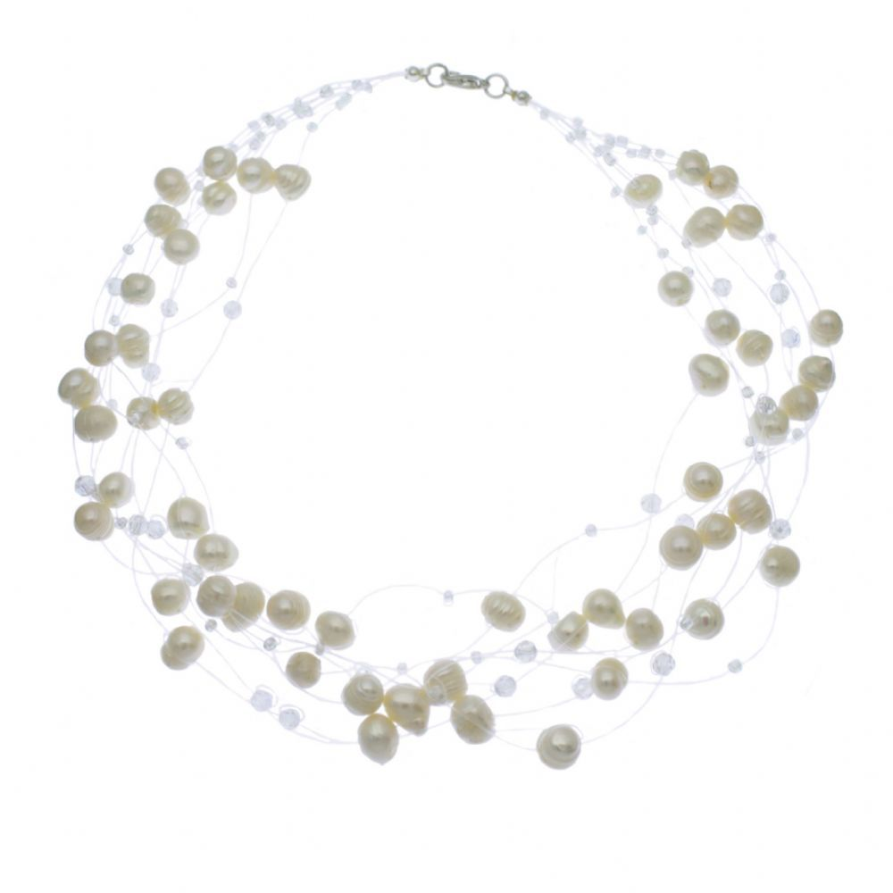 This 'floating Illusion' Necklace Has 8 Strands Of 79 Mm Freshwater Pearls