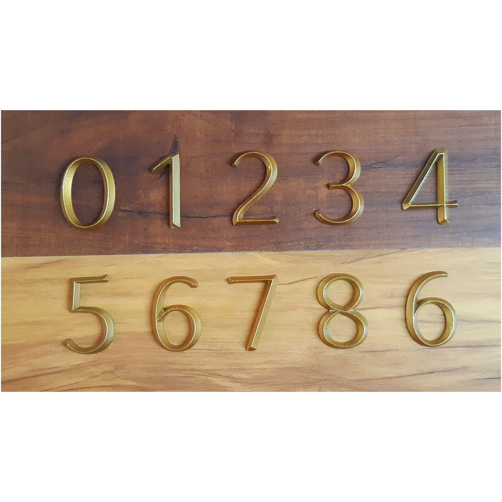 Contemporary Zinc Cast 3D Door NumbersGold PU Coating NumbersLook like BrassDoor HardwareRoom NumbersFlat NumbersHouse Door Number
