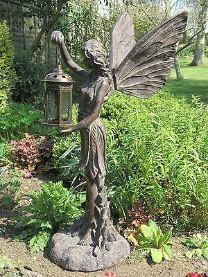Fairy Standing With A Lantern Large Garden Statue In Aged Bronze Finish Patio Ornaments Statues Lawn Ebay