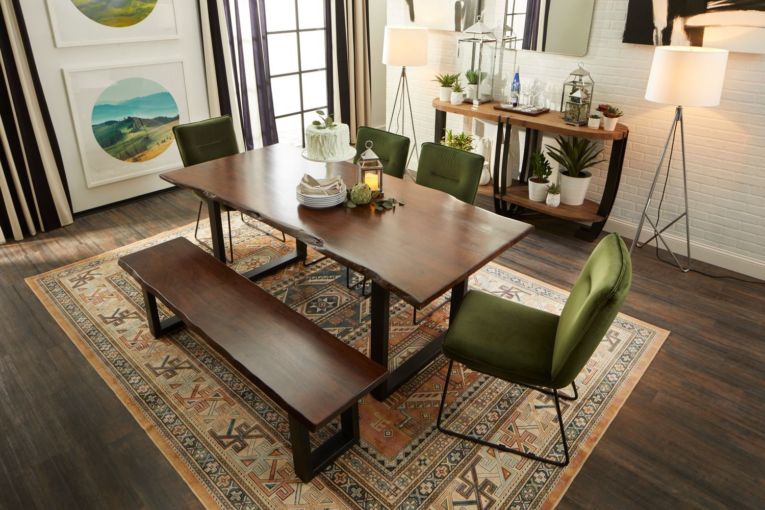 Portland Dining Table 4 Upholstered Side Chairs And Free Bench