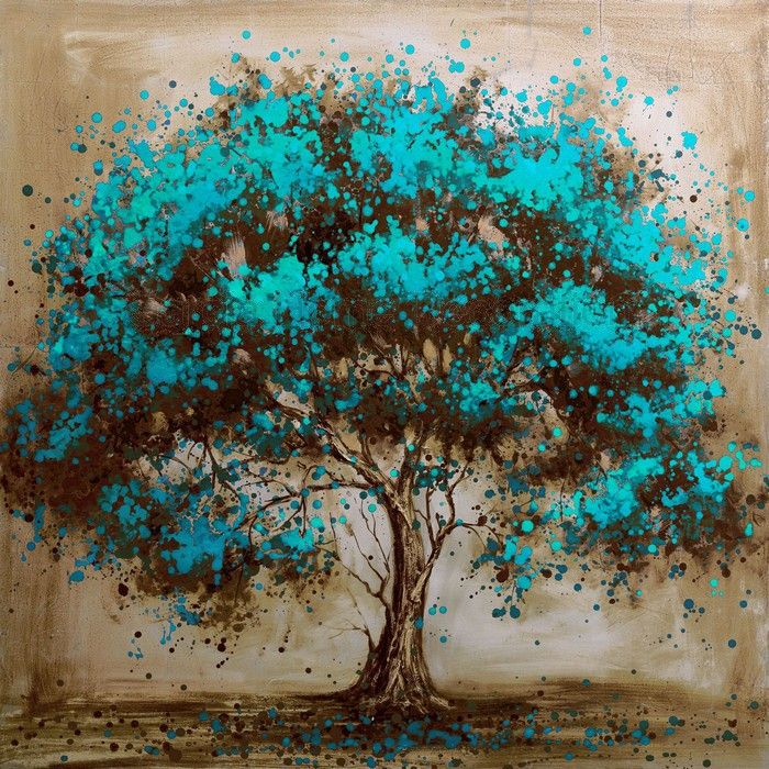 Hand painted modern tree art decoration oil painting on for Acrylic mural painting techniques