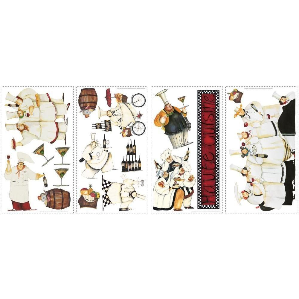 New italian fat chefs peel u stick wall decals kitchen bistro cafe