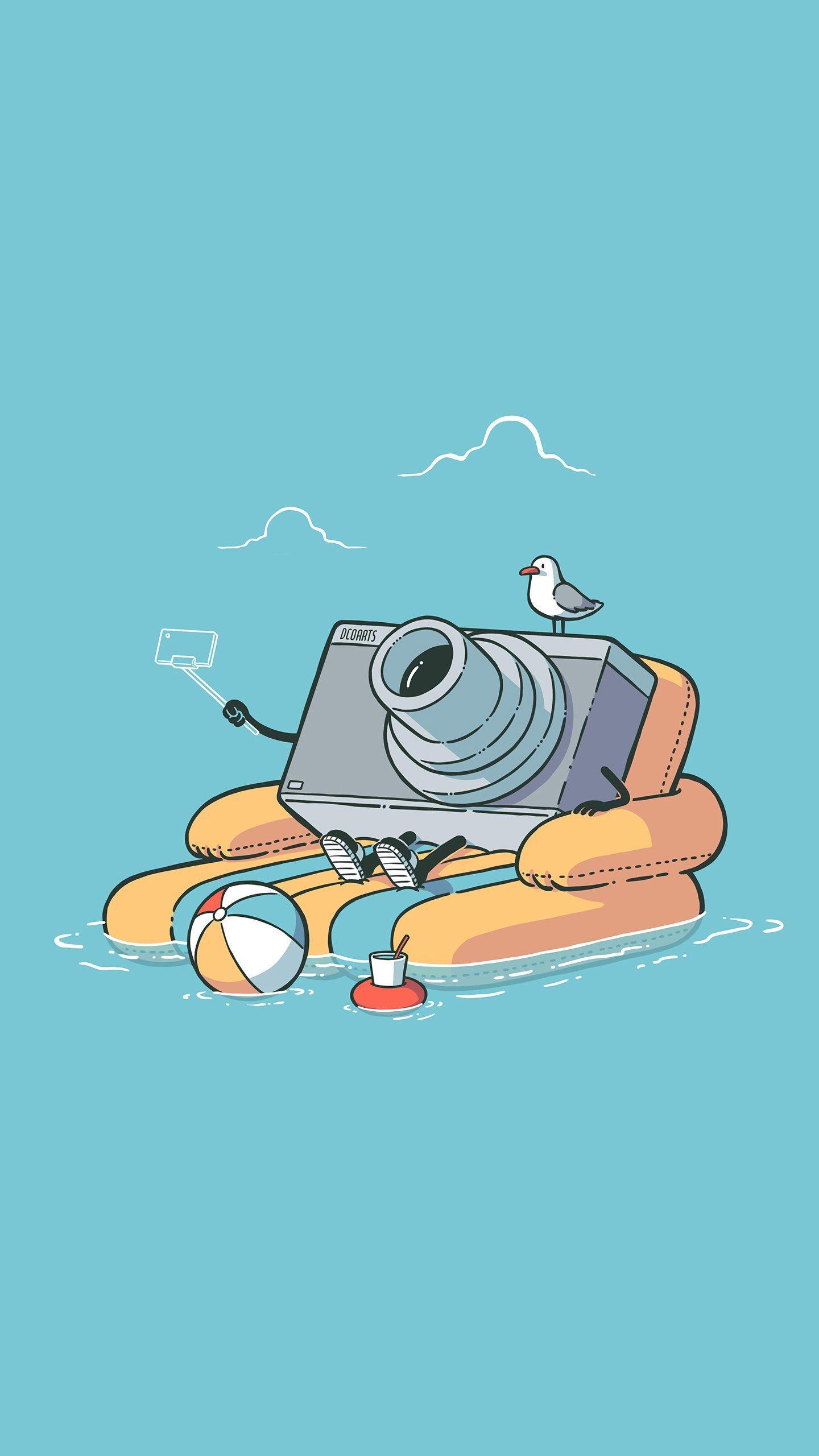 Vertical Digital Art Simple Background Camera Seagulls Water 1440x2560 Wallpaper Wallhaven Cc Cartoon Wallpaper Spongebob Wallpaper Space Artwork