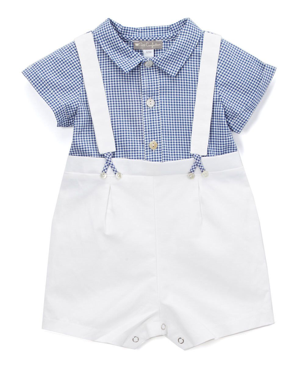 Look at this Petit Confection Blue & White Suspenders Romper - Infant on #zulily today!