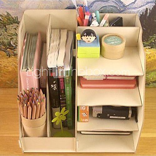 Diy multifuncional madera s lida organizador de escritorio organizadores escritorios y madera - Organizador de escritorio ...