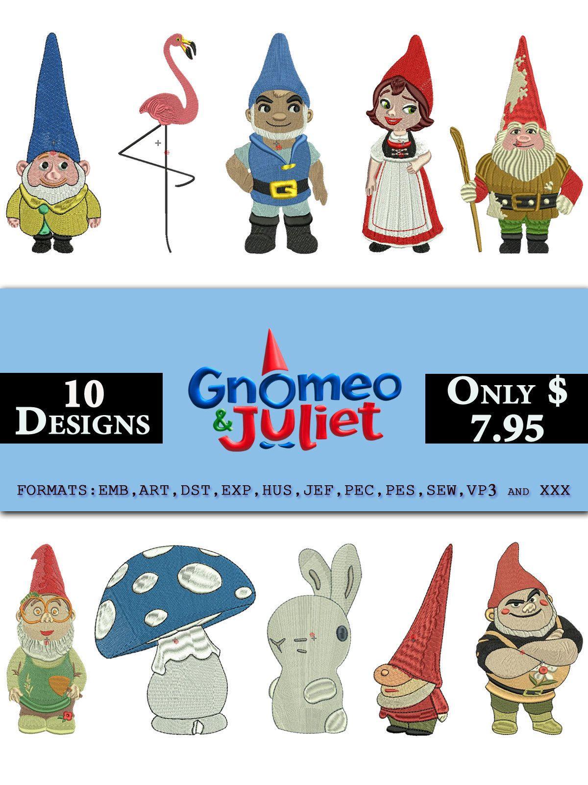 10 gnomeo juliet sherlock gnomes embroidery design juliet