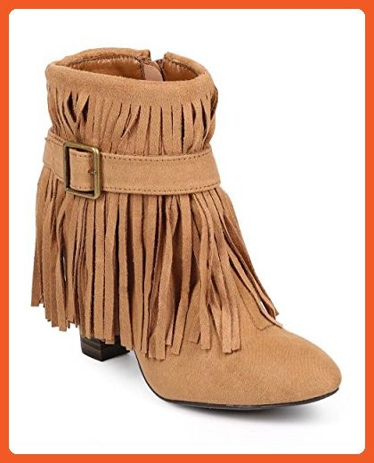 bb9876d3be1 Qupid DB41 Women Suede Almond Toe Belted Fringe Ankle Bootie - Camel ...
