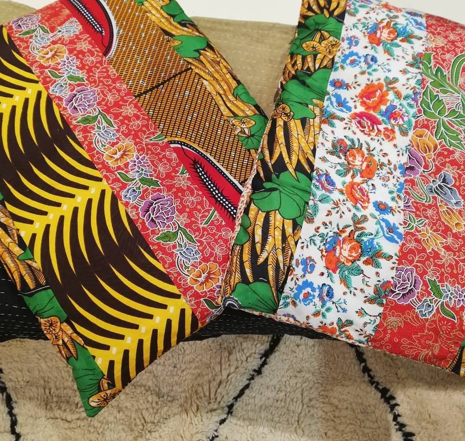 hen African wax meets balinese sarong ... Play with patterns, colours and folklores... AmOre, AmOur handmade patchwork boutis, Cushions,