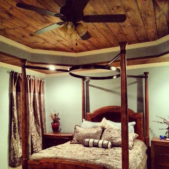 Tongue And Groove With Crown Molding Tray Ceiling In The Bedroom