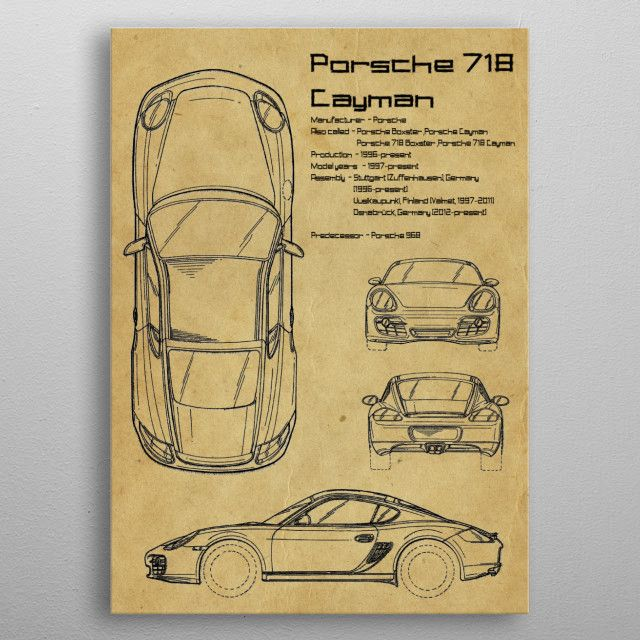Porsche 718 Cayman by FARKI15 DESIGN | metal posters - Displate | Displate thumbnail