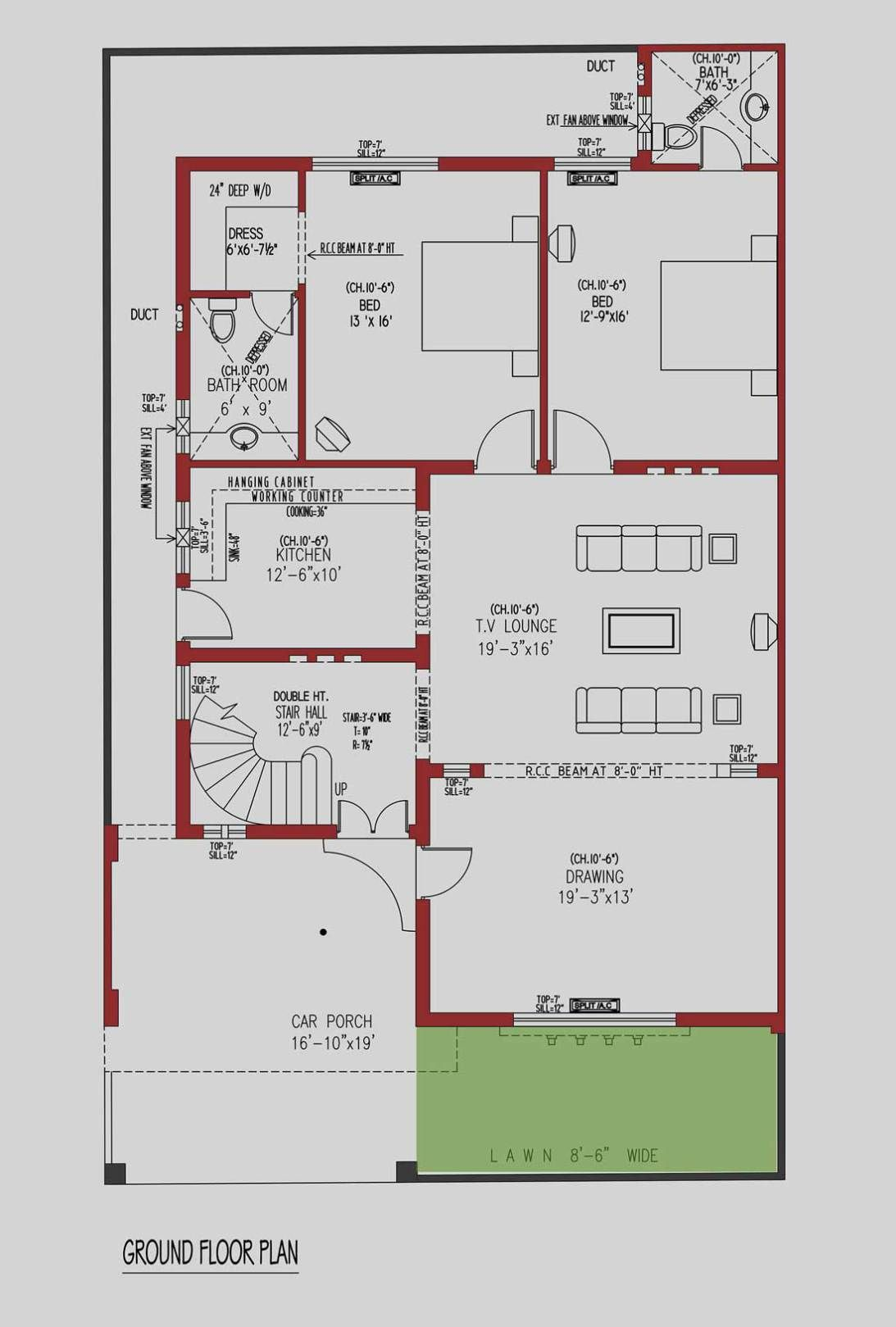 10 Marla House Plan 250 Sq Yds Architecture 360 Design Estate 2