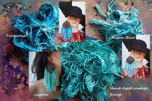 https://flic.kr/p/SqESqa | LITTLE HAVANA fringed earrings | Hand dyed vintage fringed earrings by La Polena. Beaded crochet mirror and brass jewelry.
