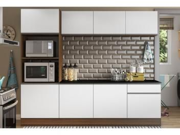 Cozinha Compacta Com Balcao Multimoveis Linea Nicho Para Forno