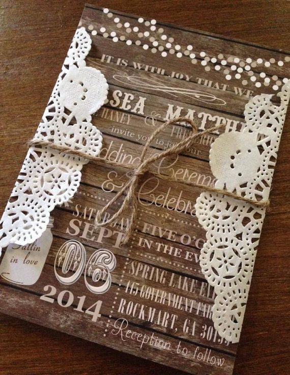 rustic wood doily mason jar wedding invitation with twine would be great for fall