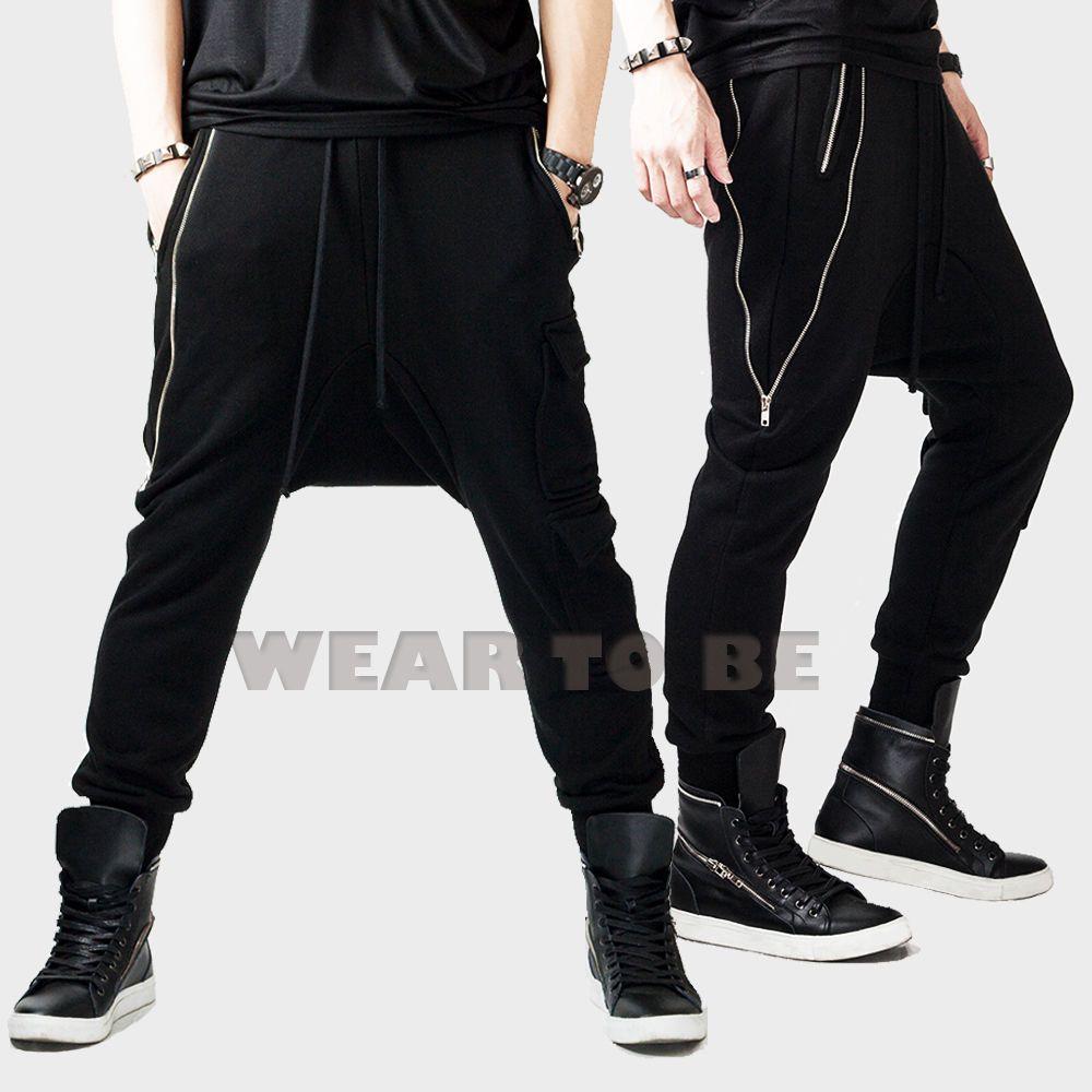 pretty cheap discount how to buy Men loose black baggy pants zipper gothic punk unique sweat ...