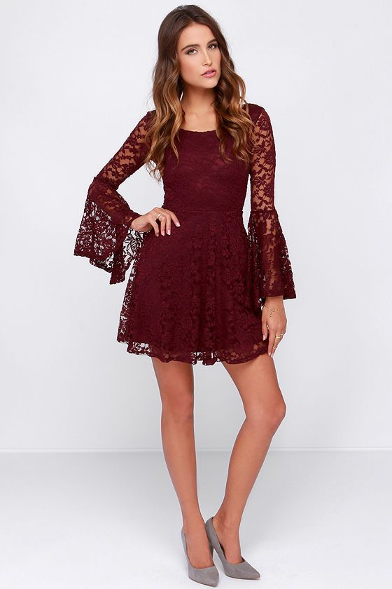 6d95a2d89c Exclusive Lace Sera Sera Burgundy Long Sleeve Dress Prom HC