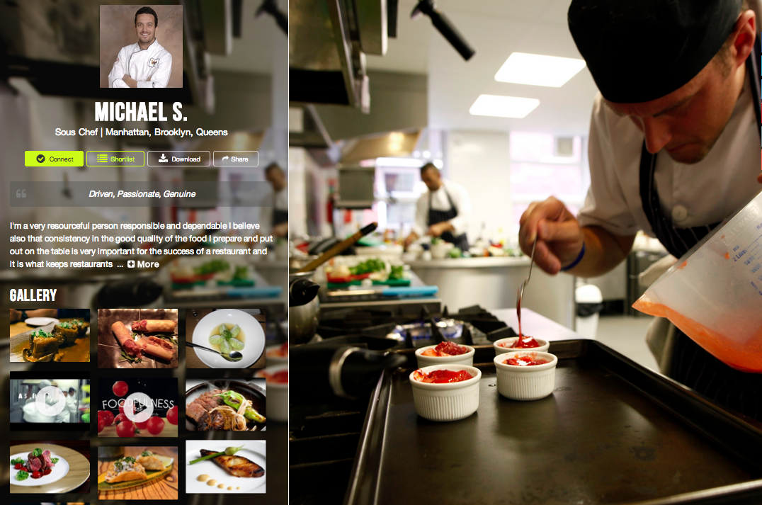 Sous Chef  Michael S  With His New Premium Member Profile Chef Resume Cv  Gethired  Chefjobs