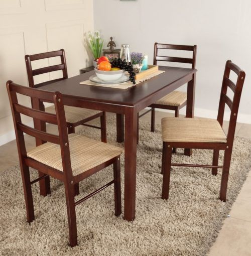 Woodness Solid Wood 4 Seater Dining Set At Rs 7499 From Flipkart Round Wooden Dining Table 4 Seater Dining Table Charming Dining Room