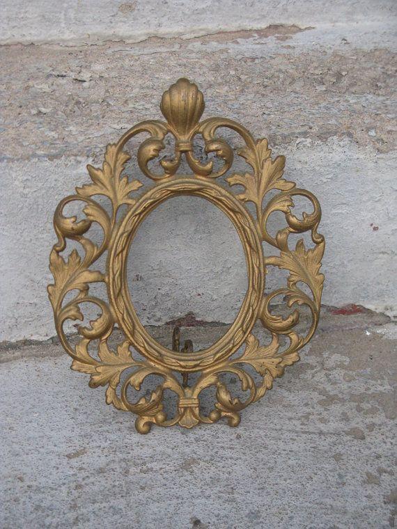 Victorian Cast Metal Picture Frame Ornate Oval Frame Easel Back Old