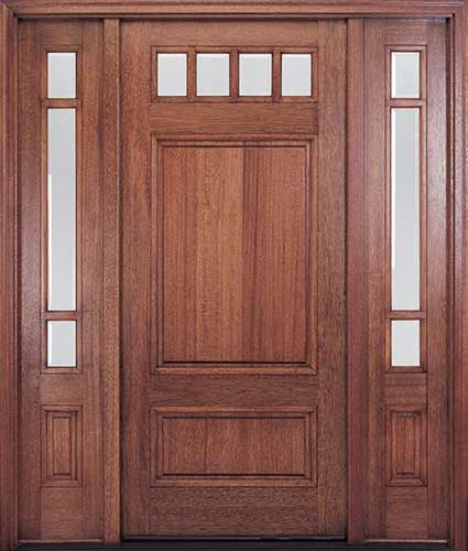 Mahogany Craftsman Style Entry Door Featuring True Divided Lites With  Clear, Beveled Insulated Glass. Dentil Shelf Available.