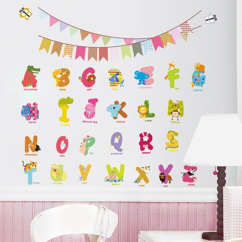 Animal Characters Letters Wall Sticker Flag Nursery Kids