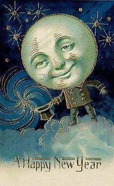 7f98203e1a3903478392d8c7630c5d5f Jpg 233 380 Pixels Vintage Happy New Year Vintage Moon New Year Postcard