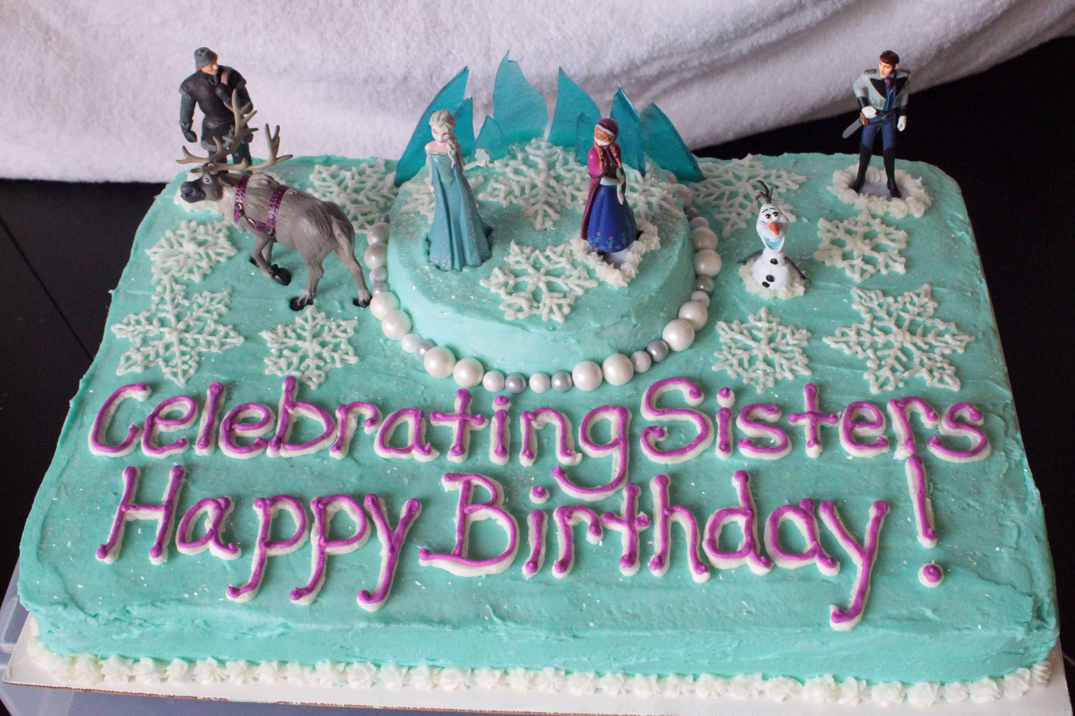 Disney Frozen Cake Turquoise white and electric purple buttercream