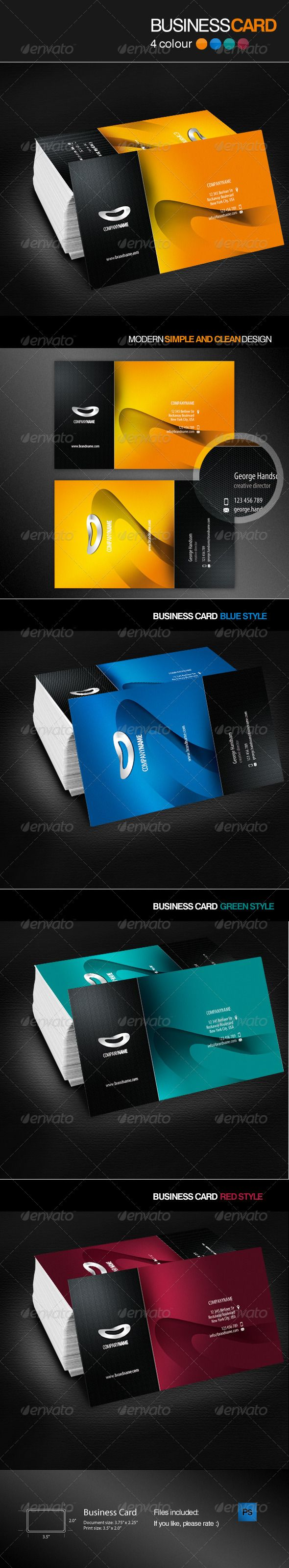 Four Colour Business Card  #GraphicRiver         Double sided, 4 colour business card Design. For any kind of business and personal use. All text layers are full type and can be edited with the click of a Button. You can easily change color of business card. Added 4 colour style to change.   Icons are included, there are smart Photoshop object, designed in Adobe Illustrator.   All you need to do is put your logo and change the text and enjoy!!   Color Profile: CMYK Resolution: 300 dpi Cut…