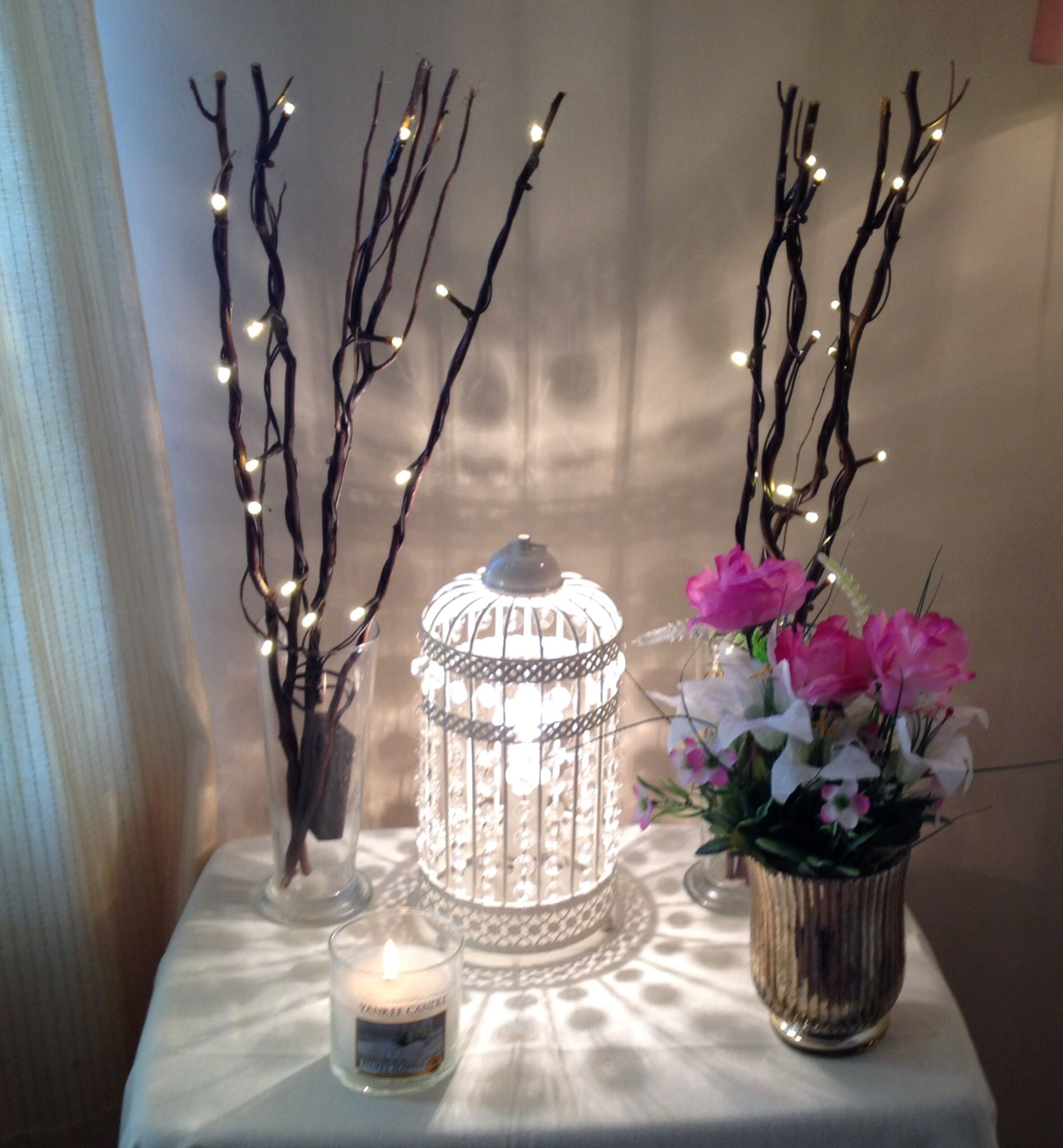 little shabby chic corner cage lamp from homebase tablecloth