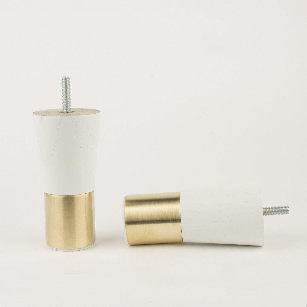 Merveilleux Mid Century Modern Brass Furniture Legs Replacement Legs White   Brass  Cabinet Hardware