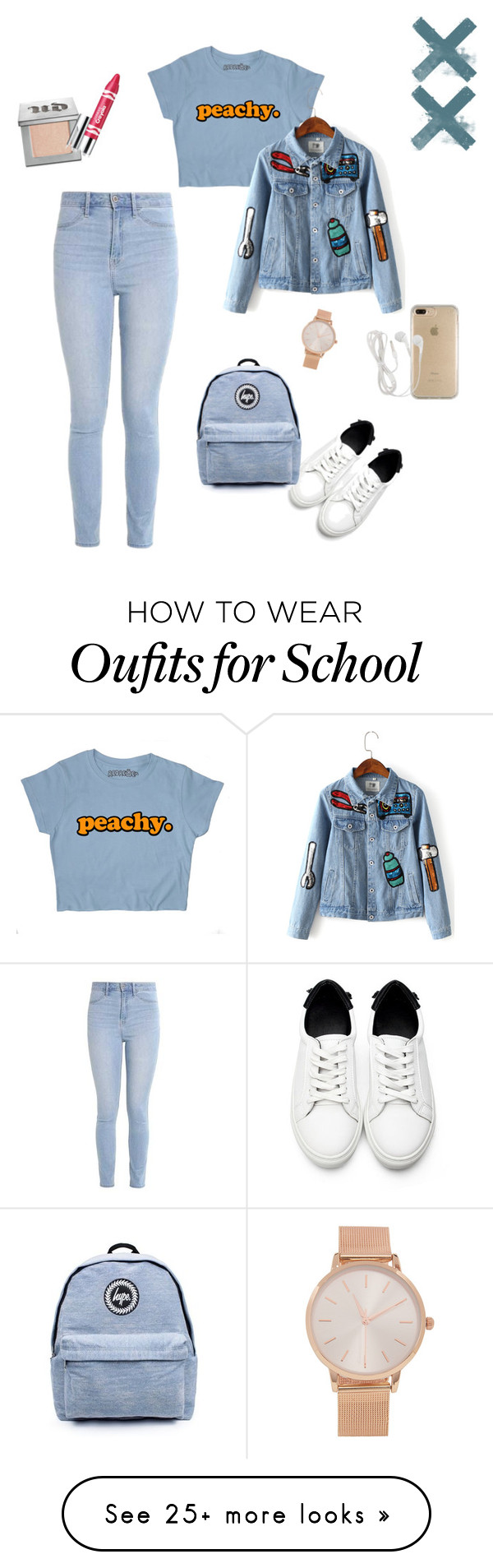 """""""School Set"""" by dynzaavi on Polyvore featuring Hollister Co., Topshop, Urban Decay, Clinique, Speck and Aéropostale"""