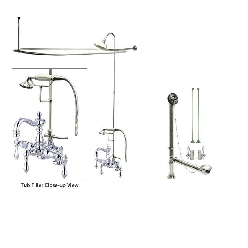 Chrome Clawfoot Tub Shower Faucet Kit with Enclosure Curtain Rod 1014T1CTS