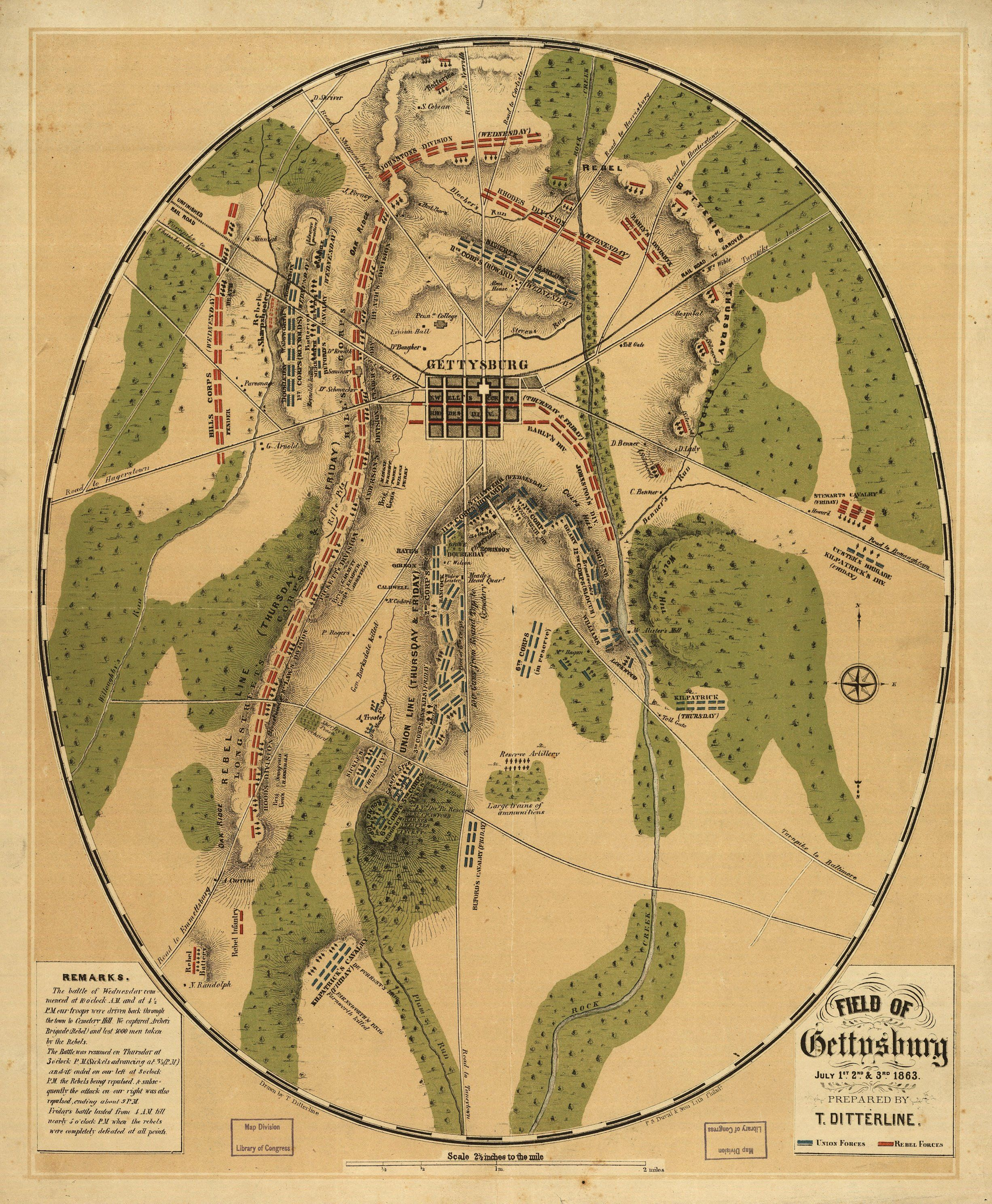 Map Of The Battle Of Gettysburg History American Civil War - Any us map in battlefield series