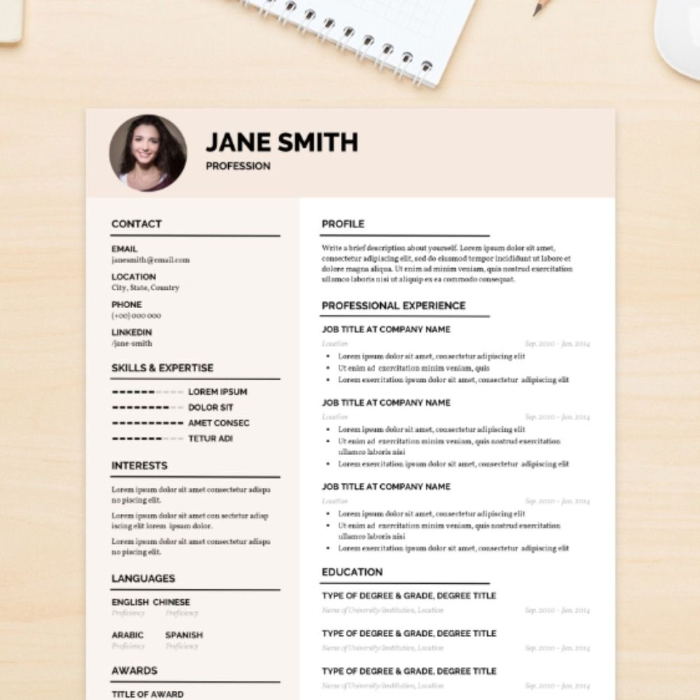 Fresh CV Template Cv template, Linkedin job, Templates