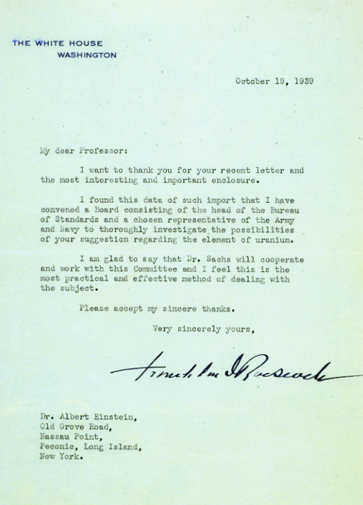 RooseveltS Reply To Einstein  Birth Of Atomic Bomb