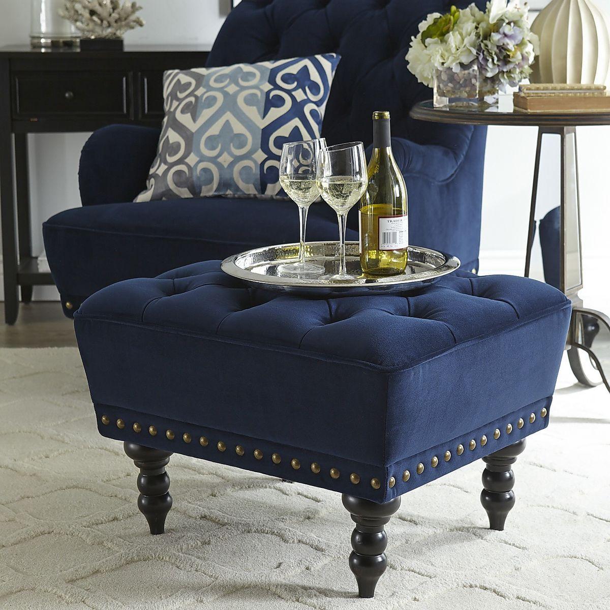 Chas Navy Blue Velvet Ottoman Blue velvet chairs, Brown