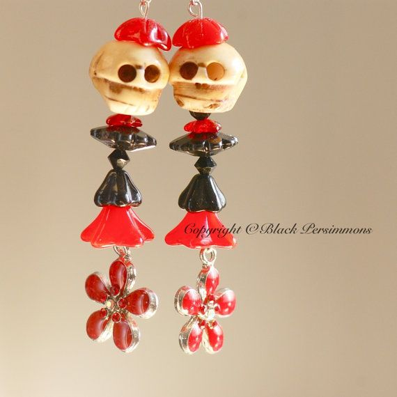 OOAK  Day of the Dead Daisies Catrina Earrings by blackpersimmons, $28.88