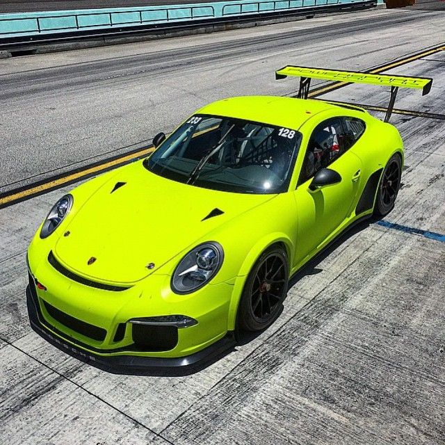 Best 30 Luxury Porsche Sport Cars Collections: Highlighter Yellow #Porsche 991 Cup Car. Wrap By