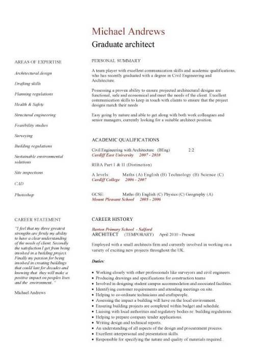 graduate architect CV sample CivilStructuralArchitectural cv