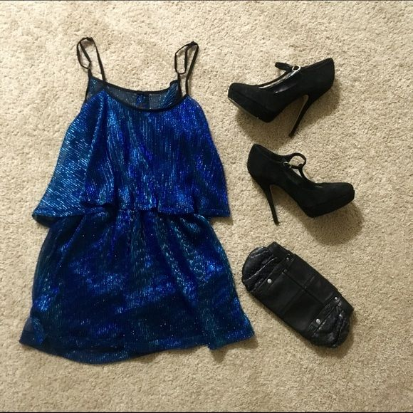 Sparkly blue dress ☄ Beautiful L is for Lover sparkly blue dress. Flirty, playful, and such a fun back! Scoops down low and then cinches along the low back. Kind of short, so if you got a booty () it'll be extra flirty.  L is Lover Dresses Mini
