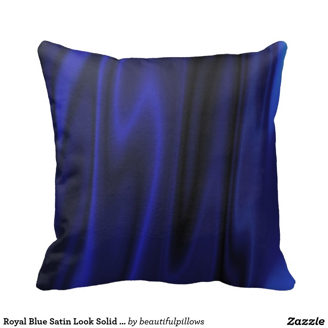 Royal Blue Satin Look Solid Color Backgrounds Pillow