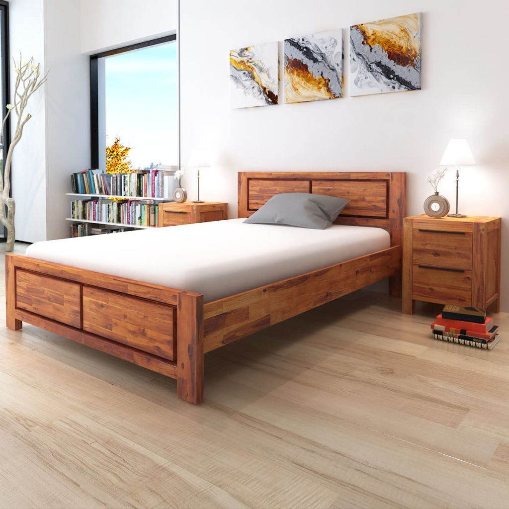 Bed Frame With Cabinets Brown 180x200 Cm 6ft Super King In 2020 Wooden Queen Bed Frame Wood Bedroom Furniture Bed Frame