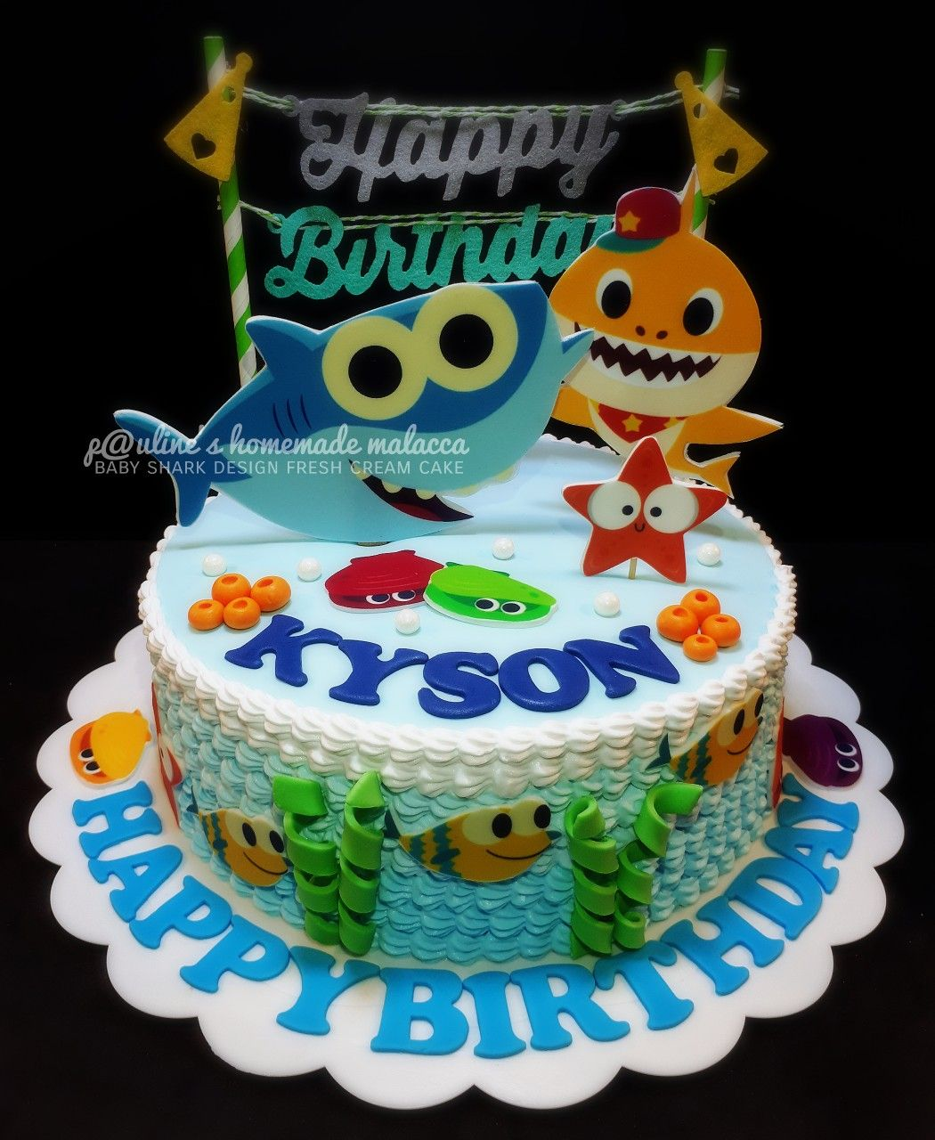 Baby Shark Design Fresh Cream Cake Paulineshomemademalacca Baby